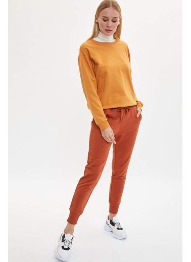 DeFacto Yarım Düşük Omuz Sweatshirt Sarı